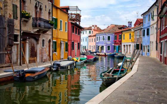 burano, italy, venice, остров, houses, venezia, лодки, italien, venedig,