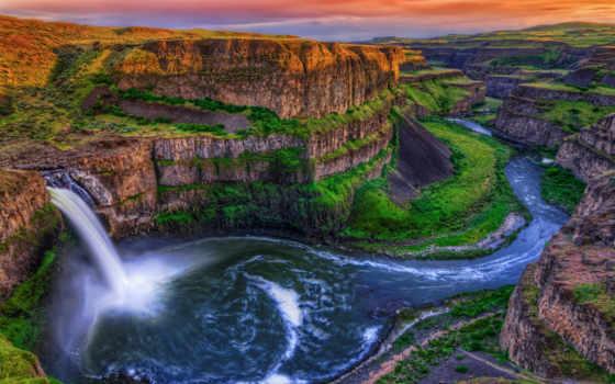 водопад, природа, falls, каньон, palouse, скалы, заставки,