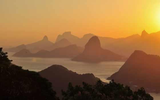 brazilian, brazil, море, закат, rio, hills, небо, рио, janeiro,