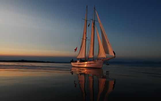море, вечер, отдых, яхта, паруса, отблески, journey, заката,