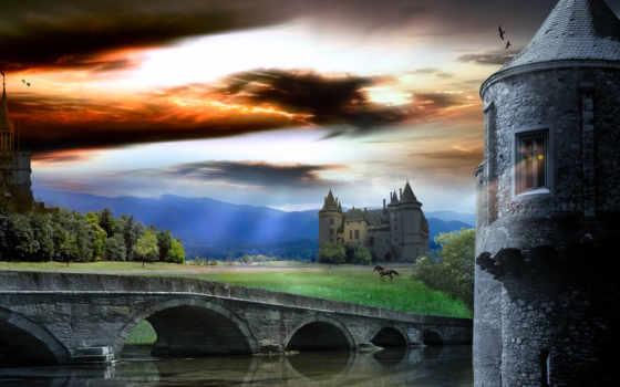 castle, world, art, небо, восход, увеличить,