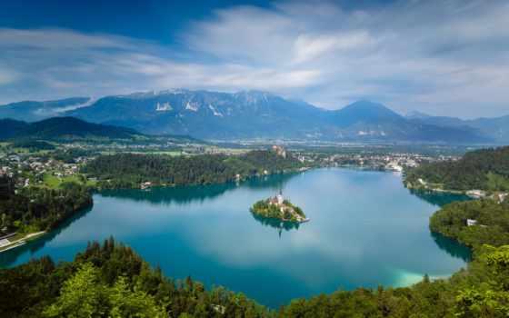 озеро, slovenia, bled, гора