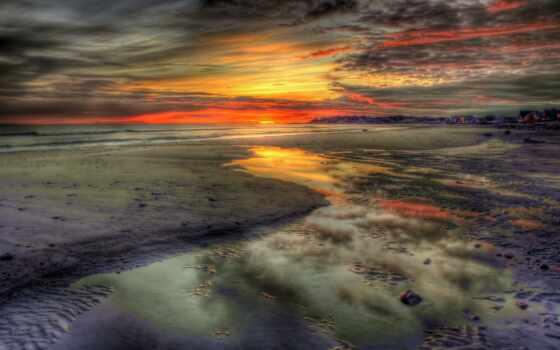 природа, закат, красивый, море, облако, mobile, landscape