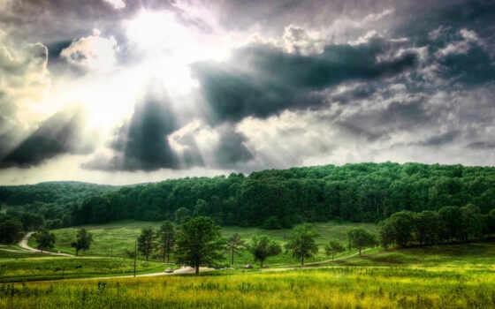 природа, красивый, зелёный, permission, гора, небо, hill