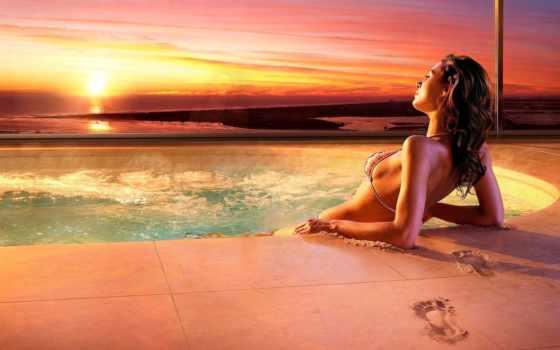 джакузи, отдых, закат, песок, summer, девушка, girls, www, бассейне,