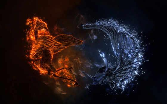 огонь, water, абстракция