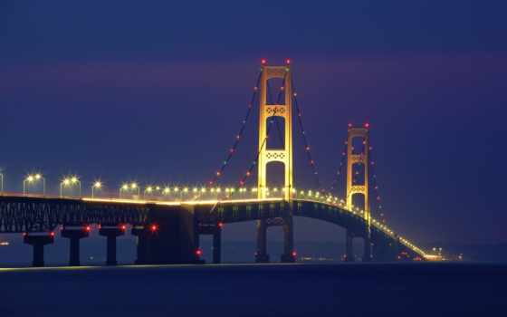 mackinac, мост, ночь, widescreen, wide, ratio,