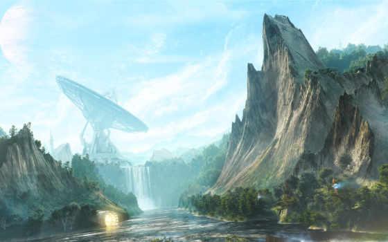 fantasy, скалы, рисунок
