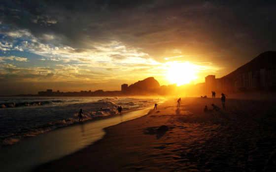 берегу, океана, закат