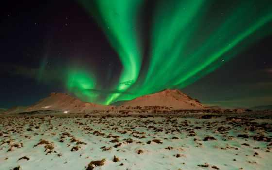 северное, сияние, ночь, небо, горы, звезды,