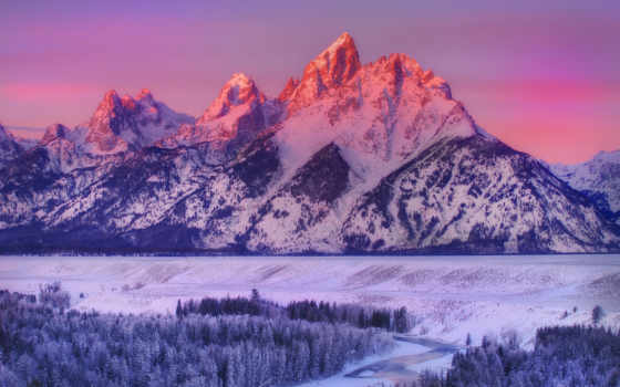 grand, teton, горы, alpenglow, wyoming, national, park, winter, природа, snake, река,