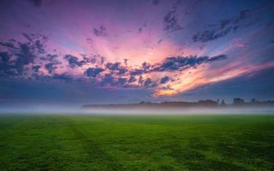 трава, поле, clouds, ночь, туман, германия, небо, trees, природа, закат,