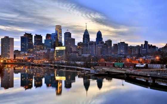 philadelphia, город, сша, вечер, фотографий, добавлено, река, просмотрели, автор, time,