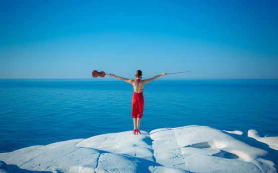 скрипка, музыка, море