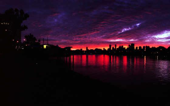 города, страны, закат
