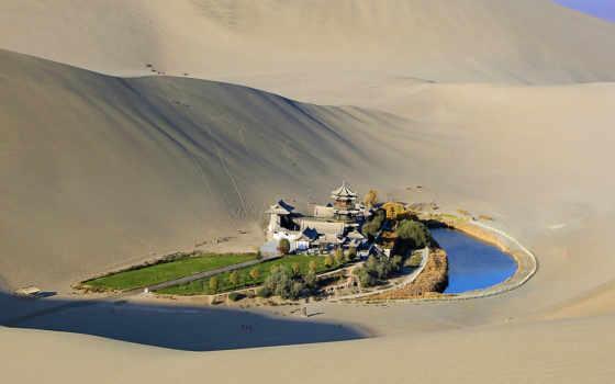 города, лежит, пустыне, ozero, оазис, гоби, полумесяц, пустыни, дуньхуан,
