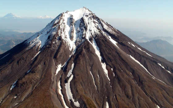вулкан, камчатка, снег, взгляд, дым, горы,
