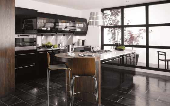 kitchen, black, gloss
