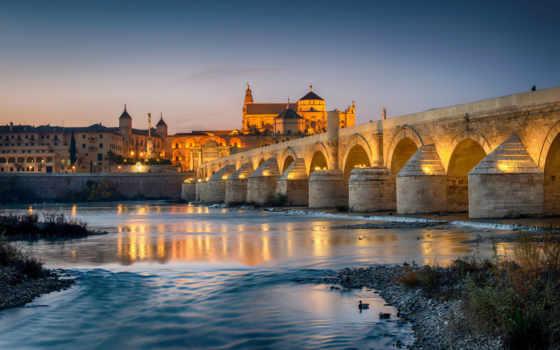 мосты, города, испания, фонари, ночь, reki, июл,