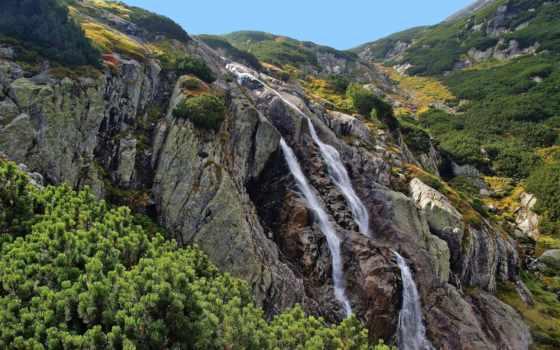 водопад, горы, природа, растительность, дек, landscape, world,