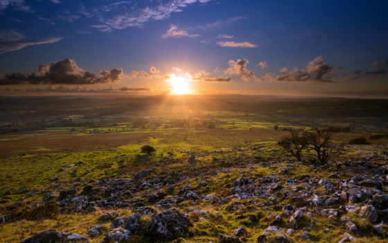 англия, природа, закат, красивые, великобритания, страница, дерево, sun, merrivale,