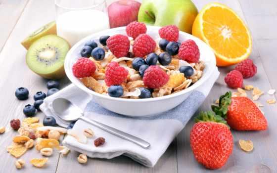 мюсли, завтрак, blueberries