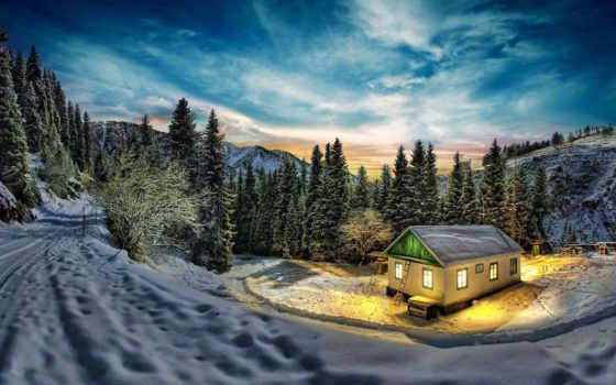 домик, лесу, горы