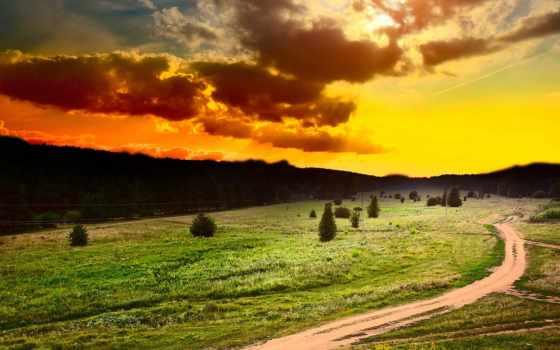 закат, поле, небо Фон № 113543 разрешение 1920x1080
