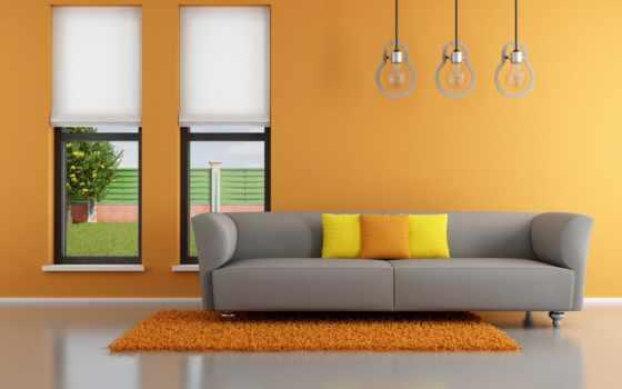 design, интерьер, оранжевый, stylish, minimalist, диван, картинка, living, комната, ковёр,