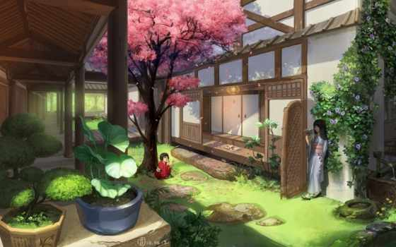 house, anime, art, Сакура, asian, garden, девочки, кимоно, mugon, картинку, bonsai,