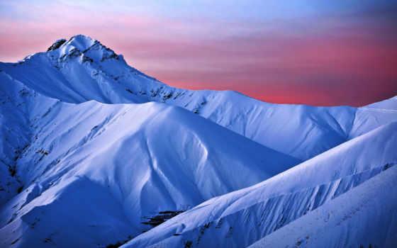 снежные, горы, гор, склоны, голубое, розово, небо, утро, снег,