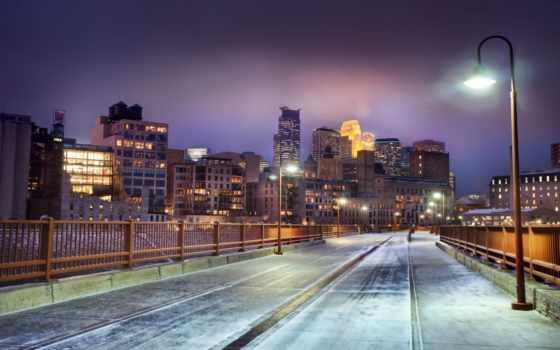 город, winter, города, skyline, здания, minnesota, огни, ночь,