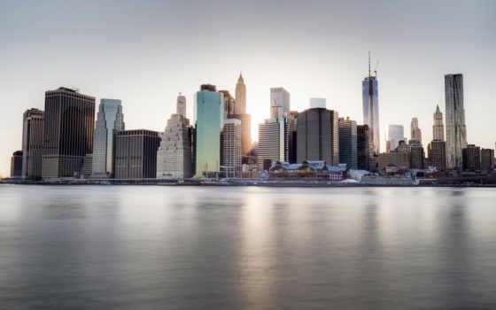 new, набережная, york, город, ny, река, весна, небоскребы, пляж, сша,