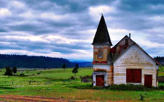 природа, full, поле, старый, красивая, house,