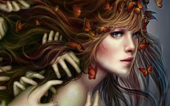 руки, бабочки, рук, много, девушка, волосах, бабочками, уже, загружено, коллекция,