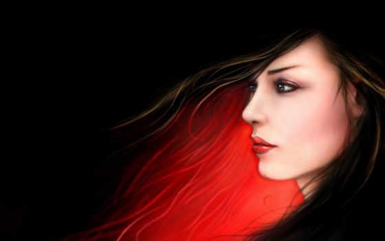 девушка, art, profile, коллекции, лицо, dark, рисунки, рисунок,