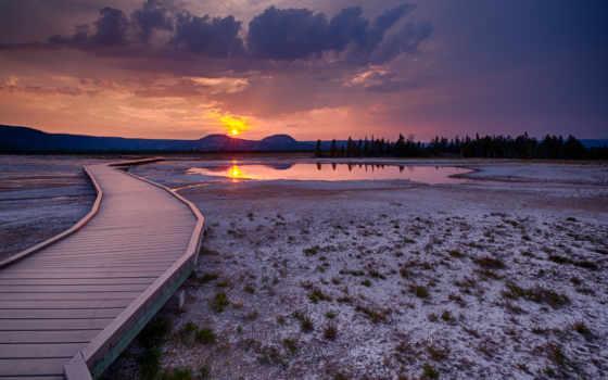 штат, закат, сша, монтана, вайоминг, айдахо, yellowstone, park, йеллоустон, national, картинку, мостки, пейзаж,