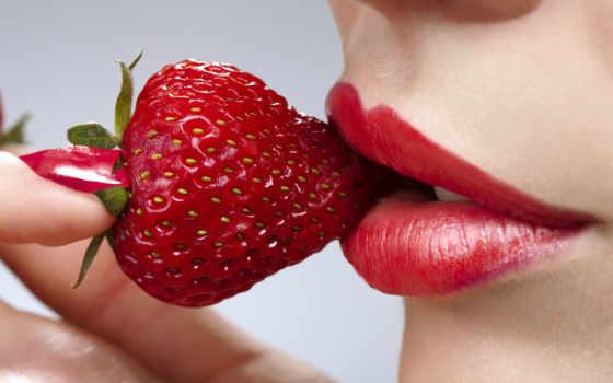 una, телефон, губы, клубника, еда, ногти, красные, labios,