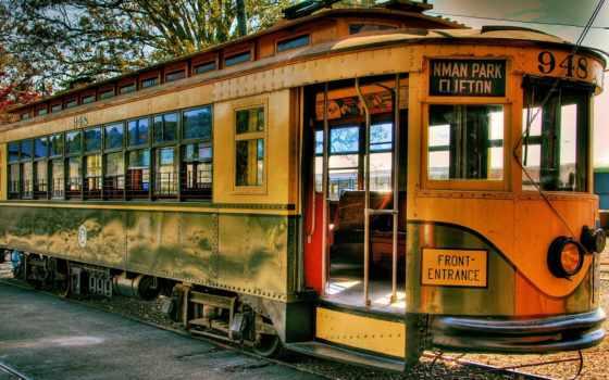 трамвай, рельсы, ретро, город, картинка,