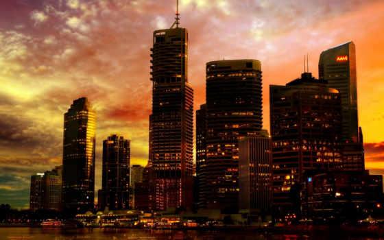 город, закат, города
