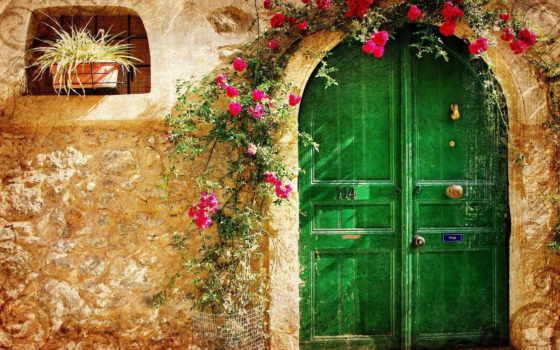 старый, город, дверь