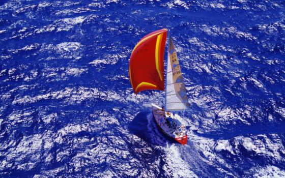 sailboat, море, яхта