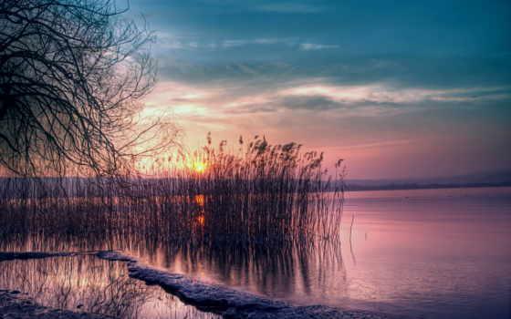 закат, небо, вечер, сумерки, красивые, розовый, sun, снег, winter, озеро,