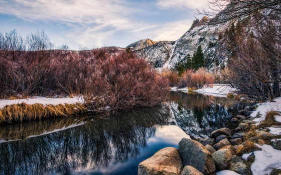 winter, озеро, река