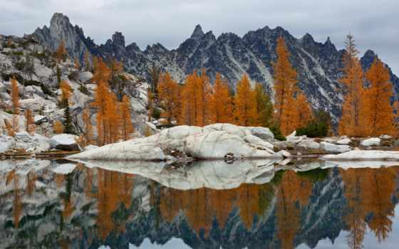 enchantments, washington, alpine, lakes, wilderness, upper, prusik, larches, peak, золотистый,