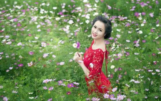 девушка, поле, стоит, разных, cvety, руках, держит, руки, цветочном,