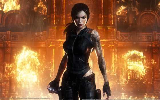девушка, tomb, raider, лара, крофт, оружие, игры, огонь, underworld, art, картинка,