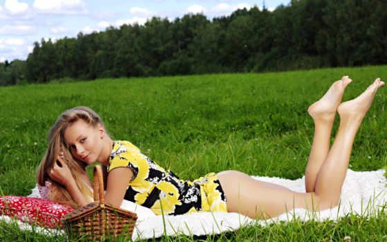 девушка, девушек, траве