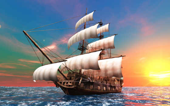 море, корабль, sailboat