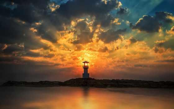 khao, лак, lighthouse, stock, закат, beam, фото, свет, images,